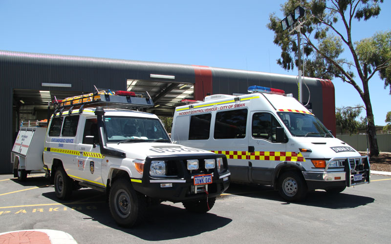 SES and BFB response vehicles at front of Swan Emergency Service Facility